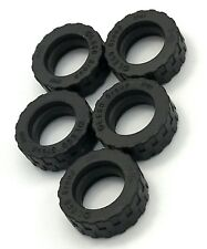 Lego Lot of 5 New Black Tire 17.5mm D. x 6mm with Shallow Staggered Treads Parts
