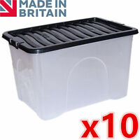 10 x 65L 65 Litre X Large Plastic Storage Clear Box Strong Stackable Container