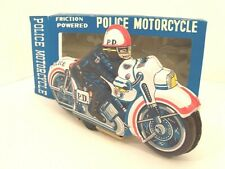 Police Motorcycle Cafe Racer Tin Litho Toy Japan Excellent Cond. w/Box Vintage