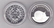 TURKEY - SILVER PROOF 20 NEW LIRA COIN 2005 YEAR KM#1176 ANIMALS HEDGEHOG  + COA