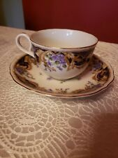 Andrea by Sadek Royal Violets w/ Gold Trim Tea Cup & Saucer Crafted in Japan