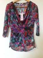 Per Una Mesh Overlay Abstract Blouse Top Size 14