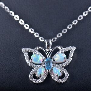 Solid 14K White Gold Colorful Opal Butterfly Pendant Necklace With Chain 18 inch