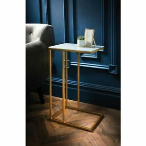 New Gatsby Glass Marble Sofa Table with Gold Legs C Shape End Sofa Side Table.