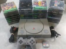 Sony PlayStation PS1 Gray Console System with games TESTED