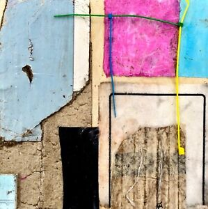 THE CONFUSED... Blue Abstract Collage Painting - Steven Tannenbaum Original Art