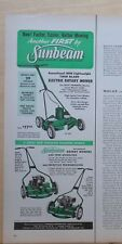 1956 magazine ad for Sunbeam Lawn Mowers - Electric and gas powered models