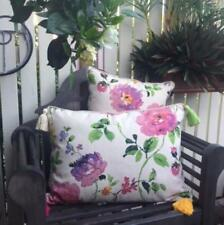 Cushion Cover Large Floral Design Pattern Off White Pink Purple Green & Tassels