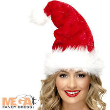 Deluxe Santa Hat Christmas Fancy Dress Festive Holiday Adults Costume Accessory
