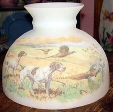 """10"""" Glass Shade oil kerosene lamp student PHEASANT HUNT / BIRD DOG SCENE PRINT"""