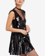 Free People Dance Til Dawn Black Sequin Party Holiday Dress Size Small New $168