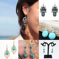 Boho Vintage Retro Womens Ethnic Tibetan Silver Turquoise Dangle/Drop Earrings
