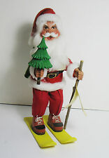 "Vintage 1984 J & L Toth Hand Carved 13.5""  SANTA on Skiis with Pack w/ Tag"