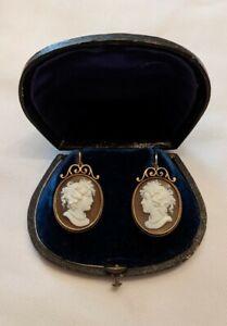Russian 14kt gold cameo earrings