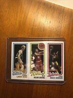 1980-1981 Topps #139 LARRY BIRD - MAGIC JOHNSON - Rookie Reprint Card Mint