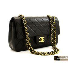 """z95 CHANEL Authentic 2.55 Double Flap 9"""" Chain Shoulder Bag Black Lambskin Purse"""