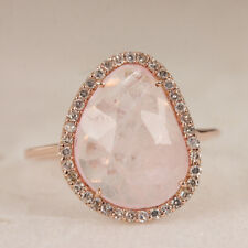 Solid 14k Rose Gold Gemstone Morganite Ring Pave Diamond Jewelry NEW ARRIVALS!!!