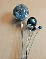 Collection of 6 Vintage Hat Pins Including Large Silver Glitter Pin