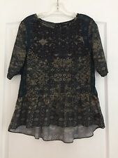Sanctuary Anthropologie Woman's Ruffle Hem Blouse Blue/Olive Print Small NWOT