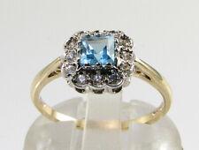 DAINTY 9K 9CT GOLD SWISS BLUE TOPAZ DIAMOND ART DECO INS RING FREE RESIZE