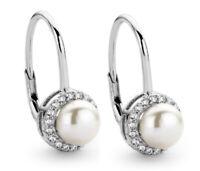 925 ECHT SILBER RHODINIERT *** Perlen Zirkonia Ohrringe 18 mm