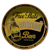 Rare Vintage 1930's Free State Supreme Beer Collectible Tin Serving Tray