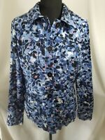 Womens M Jacket NWOT Charter Club Button Up Collar Long Sleeve Blue Floral Print