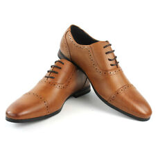 Men's Cognac Dress Shoes CapToe Detailed Lace Up Oxfords Leather Lining AZARMAN