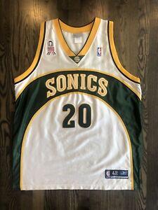 REEBOK Authentic GARY PAYTON #20 Seattle SuperSonics Jersey 48 XL 9/11 Patch