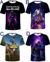 Boys Men 3D print T shirt Sport Nylon Top Fortnite Raven super dry soft 6-20yrs
