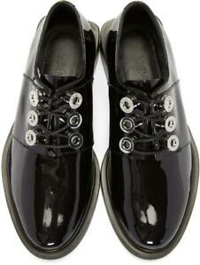 Kenzo Women's Lace Up Oxford Block Heel Derby Patent Leather Black Size 37