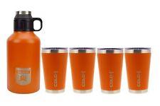 reduce COLD-1 Stainless Steel Insulated 64oz Growler & 4-Pk 16oz Tumbler- Orange