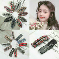 Women Slide Snap Hair Clips Barrette Grips Hairpin Set Crystal Pins Accessories
