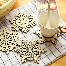 4pcs Wooden Snowflake Coasters Holder Coffee Tea Drinks Chic Cup Mat XMAS