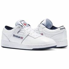 REEBOK MENS CLASSIC TRAINER WORKOUT PLUS SNEAKERS LEATHER LOW WHITE NEW