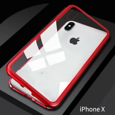 For iPhone X 7 8 Plus Magnetic Adsorption Metal Bumper Tempered glass Case Cover