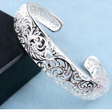 Elégant 925 Argent Sterling Plaqué Bracelet Gourmette Femme Ajustable IDXX