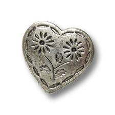 1227as Metall Ösen Knöpfe in Herz Form mit Blumen 3 bezaubernde altsilberfb