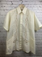 Vintage 70s Disco Shirt Mens Large Saturday Night Fever Embroidered Off White M7