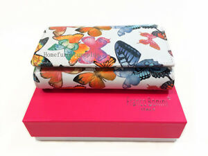 Franco Bonini RFID Protected Butterfly Print Genuine Leather Trifold Zip Wallet
