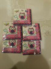 Owl Pal 16 Ct Beverage Napkins Birthday Party 5 packs