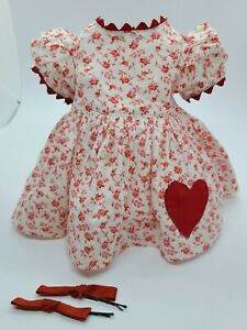 """Vintage 1950s Red HEART Floral Dress & Hair Bows for Terri Lee 16"""" Doll Factory"""