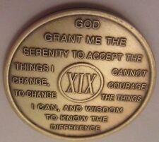 Al-Anon AA 19 Year Bronze Medallion Coin Serenity Recovery GA OA Token Chip NAL