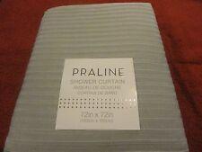 new solid Light GRAY sewn horizonal lines ~ Luxury Fabric SHOWER CURTAIN~Praline