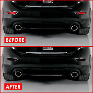 FOR 14-17 Infiniti Q50 Q50S Rear Reflector SMOKE Precut Vinyl Tint Overlays