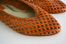Vintage IPANEMA Woven HUARACHE Flats Shoes Tan Brown Leather Womens Size 9.5 #bb