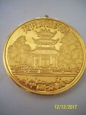 Collectible large Asian coin, heavenly temple gold plated coin/neckles