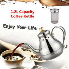 1.2L Capacity Stainless Steel Gooseneck Pour Coffee Drip Kettle Tea Filter Pot