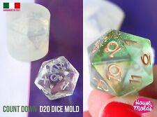 Clear silicone resin D20 dice mold crafts game gamer di single mold crafting