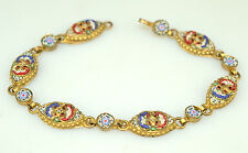 VINTAGE MICRO MOSAIC BRACELET FROM ITALY MARQUISE SHAPED LINKS 8 INCHES LONG